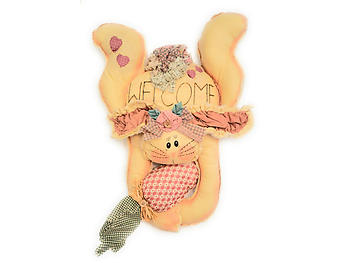 Fabric Bunny Welcome Easter Door Hang Up Sign