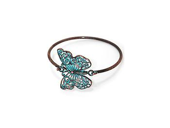 Patina Verdigris Filigree Cut Out Metal Butterfly Hook Bracelet