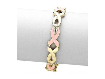 Enameled Pink Ribbon Link Stretchable Bracelet
