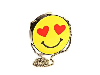 Heart Eyes & Smiley Face Box With Chain Leather Strap Shoulder Bag