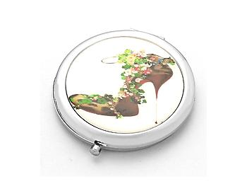 Secret Garden Exotic Leopard Heel Folding Makeup Round Compact Mirror