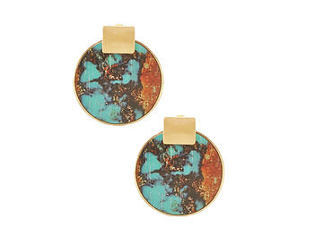 Printed Wood & Metal Geometric Pattern Round Circle Square Earrings