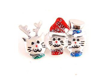 3 Festive Cats Christmas Inspired Pin Brooch