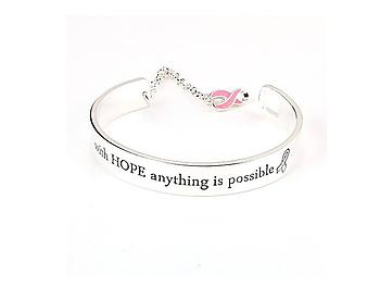 With Hope Anything Is Possible Silvertone Message Cuff Bracelet