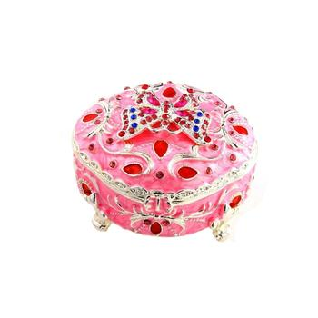 Pink Rhinestone & Metal Butterfly Jewelry Trinket Box