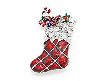 Crystal Enamel Christmas Sock Brooch
