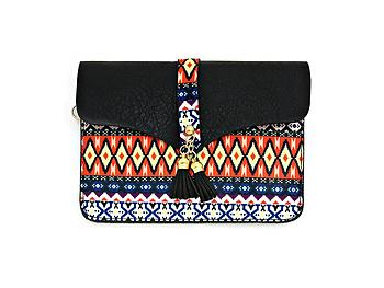 Black Aztec Pattern Double Tassel Drop Clutch Bag with Metal Chain Strap