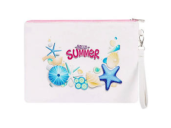 Hello Summer Sea Life Polyester Print Carry All Pouch Bag Accessory w/ Wrist Strap
