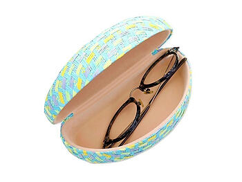 Colorful & Fun Woven Straw Textured Hard Clamshell Eyeglass / Sunglass Case