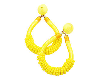 Colorful & Fun Beaded Cord Thread Dome Post Back Drop Earrings