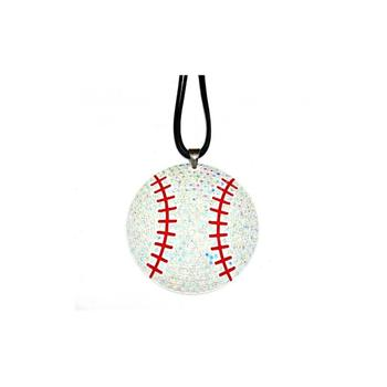 Faceted Crystal Pave Baseball Pendant Necklace