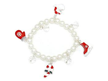 Christmas Charms Pearl Stretch Bracelet